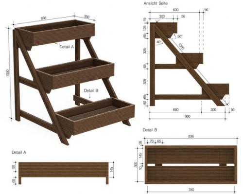 чертеж этажерки с размерами